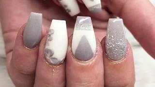 Acrylic nails | Grey And White | All Powder