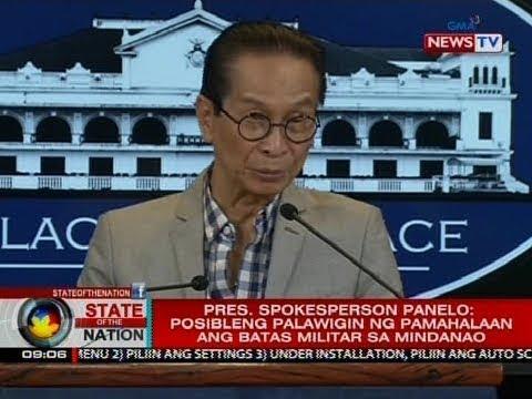 SONA: Pres. Spokesperson Panelo: posibleng palawigin ng pamahalaan ang batas militar sa Mindanao