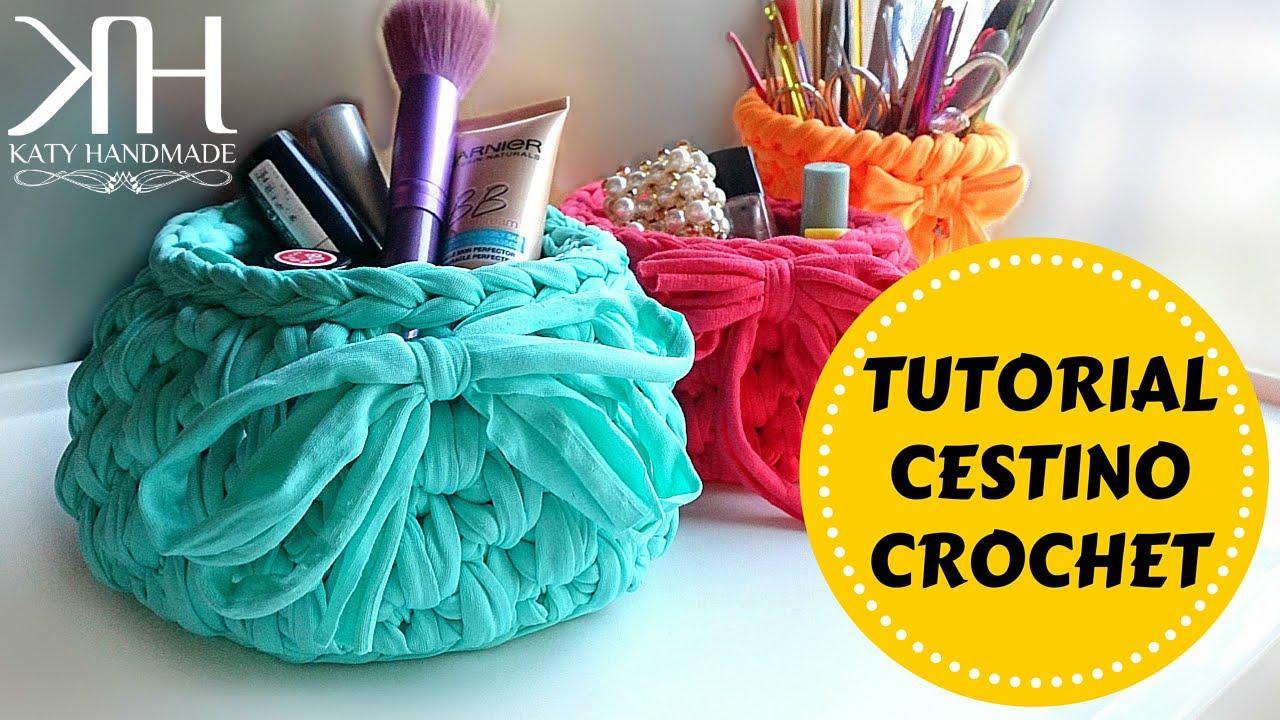 Cestino In Fettuccia Crochet Basket Fondo Tondo Katy Handmade