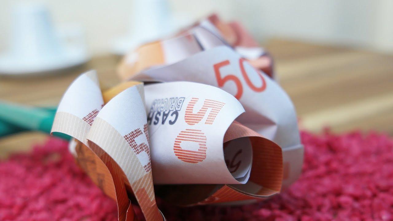 Geldscheine Falten Rose Blume Aus Geld Falten Anleitung Youtube