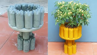 Creative ideas from cement, DIY beautiful cement pots from old plastic bottles