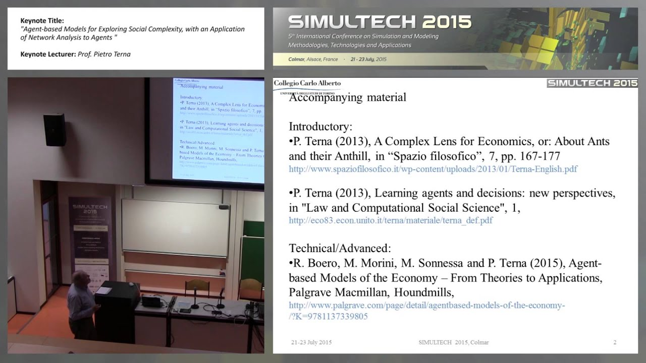 """""""Agent-based Models for Exploring Social Complexity, with an… """" Prof   Pietro Terna (SIMULTECH 2015)"""