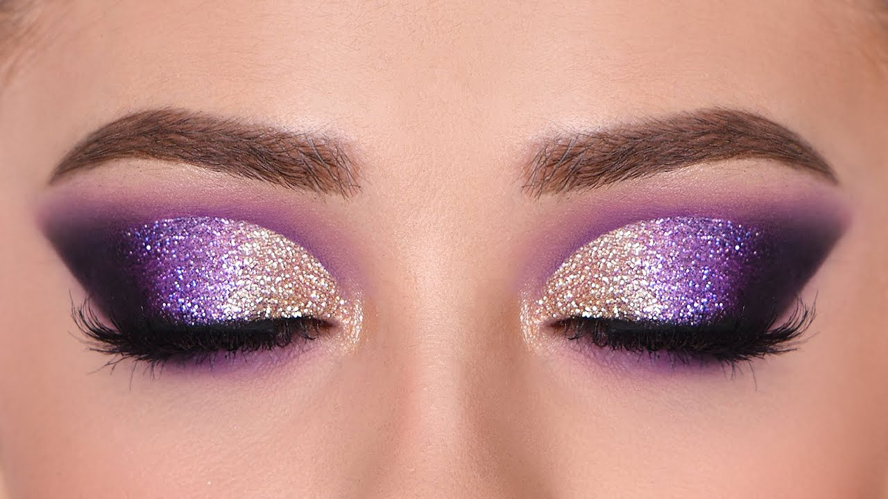 Gold Purple Glitter Smokey Eye Makeup