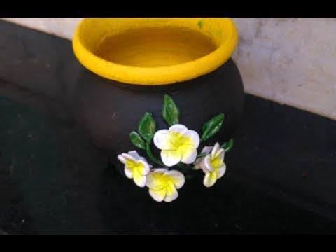 DIY-Pot decoration with clay flower// plumeria/frangipani-flower