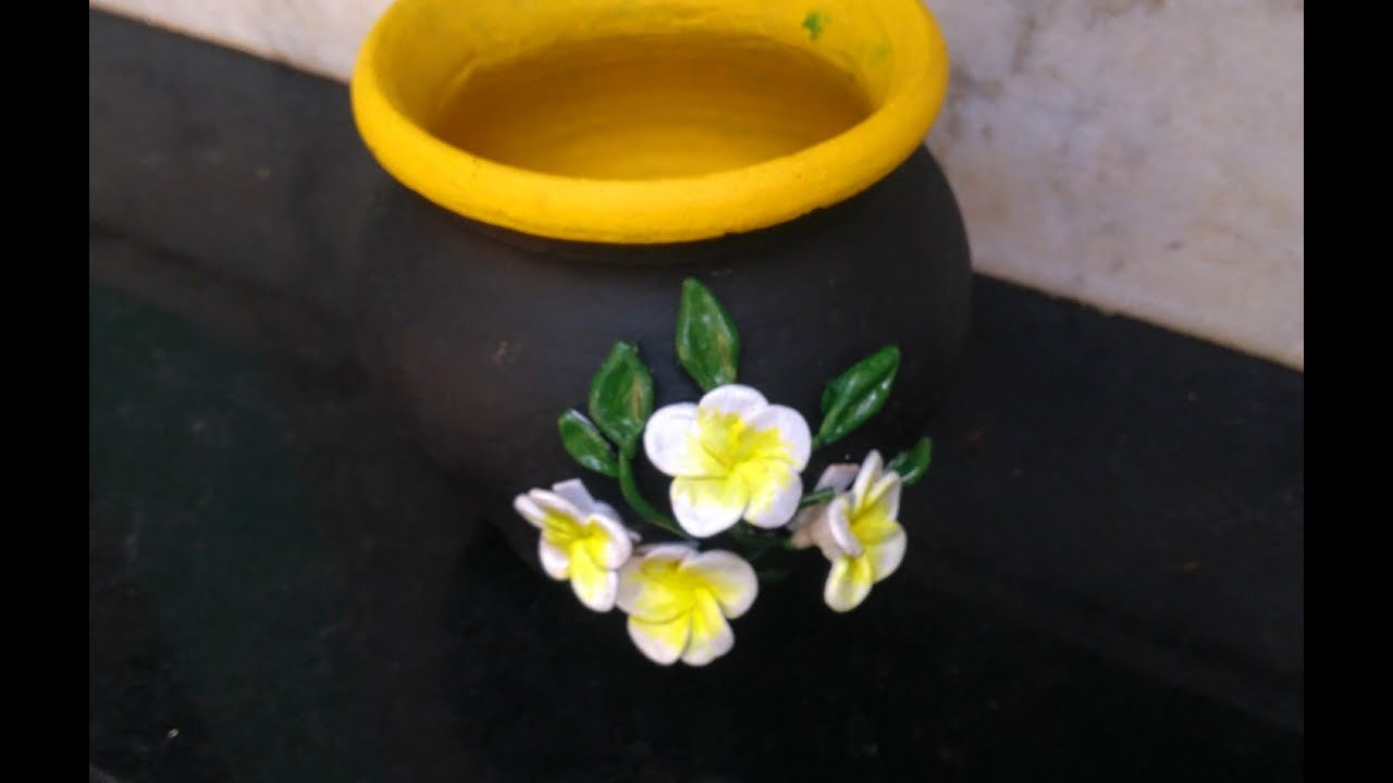 Diy Pot Decoration With Clay Flower Plumeria Frangipani Flower