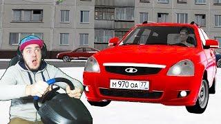 РАБОТАЮ КУРЬЕРОМ - ПРИОРА ЗИМОЙ НА ЛЕТНЕЙ РЕЗИНЕ в ГОЛОЛЕД - CITY CAR DRIVING + РУЛЬ