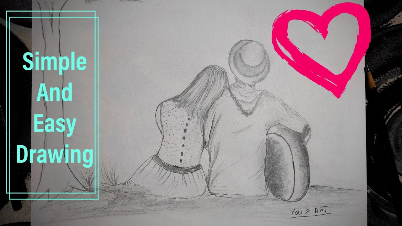 Romantic moment with your girlfriend valentine day special true love pencil drawing