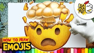 HOW TO DRAW THE EXPLODING HEAD EMOJI | Awesome Emoji Drawing Step by Step Easy For Kids | BLABLA ART