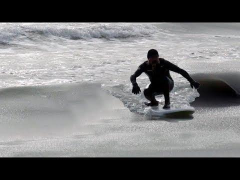 SURFING FROZEN SLUSHY WAVES in NEW JERSEY
