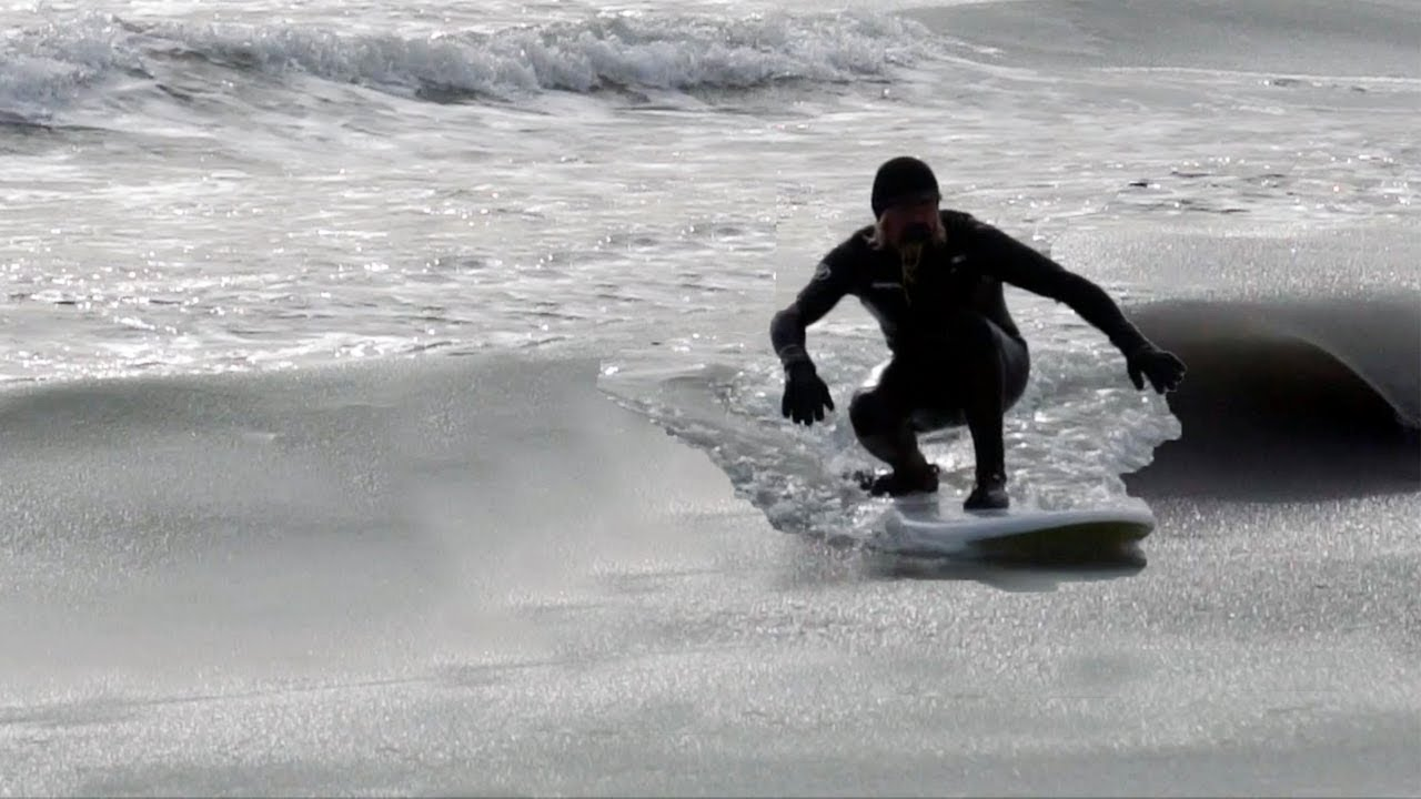 SURFING FROZEN SLUSHY WAVES in NEW JERSEY