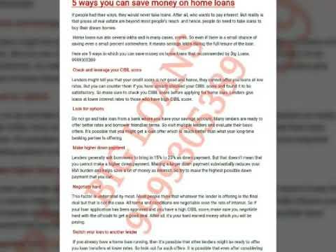 Save money on home loan