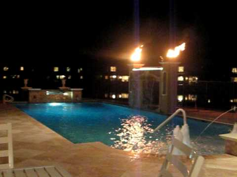 Moskowitz Pool Area With Waterfall And Fire Bowls Youtube