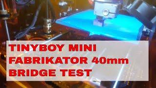 Tinyboy Mini Fabrikator 40mm Bridge Test.