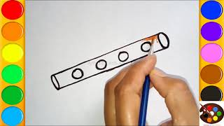 How to draw and color Flute | Flute Instrument Easy Draw step by step for kids to learn