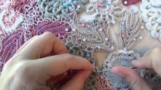 видео Ирландское кружево мастер класс Нерегулярная сетка irish crochet technique