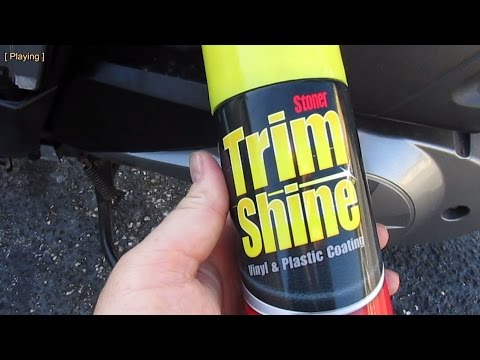 Using Trim Shine to restore plastic trim color on a scooter or motorcycle