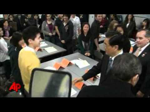 Raw Video: Hu Jintao Visits Chicago High School