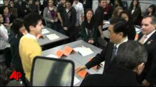 Raw Video: Hu Jintao Visits Chicago High School