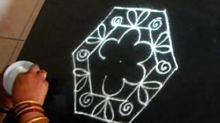 A kolam for entrance - 7 dots by 4