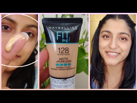 BEST Summer Foundation for OILY SKIN ? Let's review MAYBELLINE FIT ME FOUNDATION - WARM NUDE 128