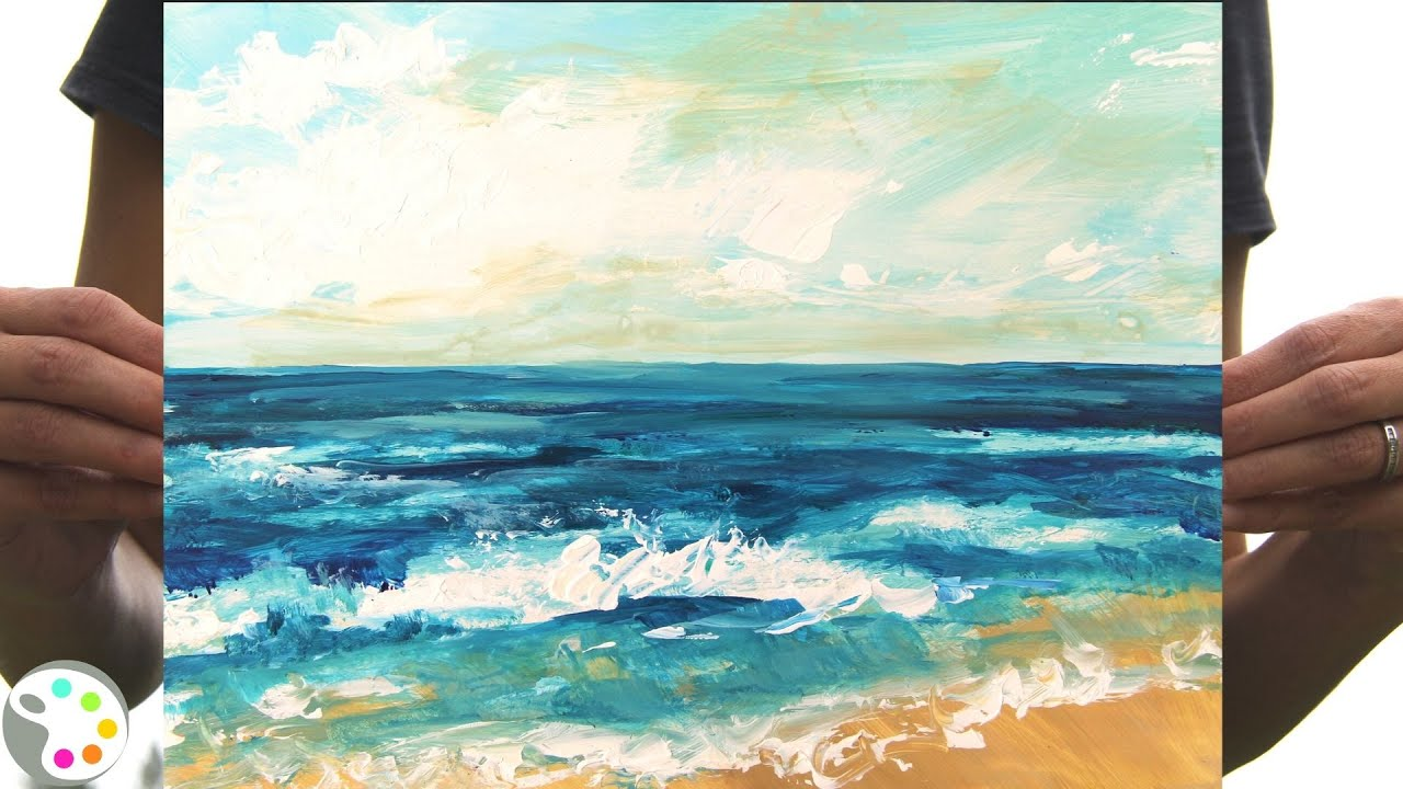 How To Paint In Acrylics Easy Ocean Beach Painting Tutorial 15 Minute Painting Youtube