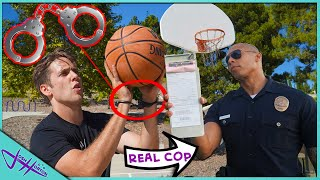 Challenging POLICE OFFICER to Handcuff Basketball! *Loser Pays Ticket!*