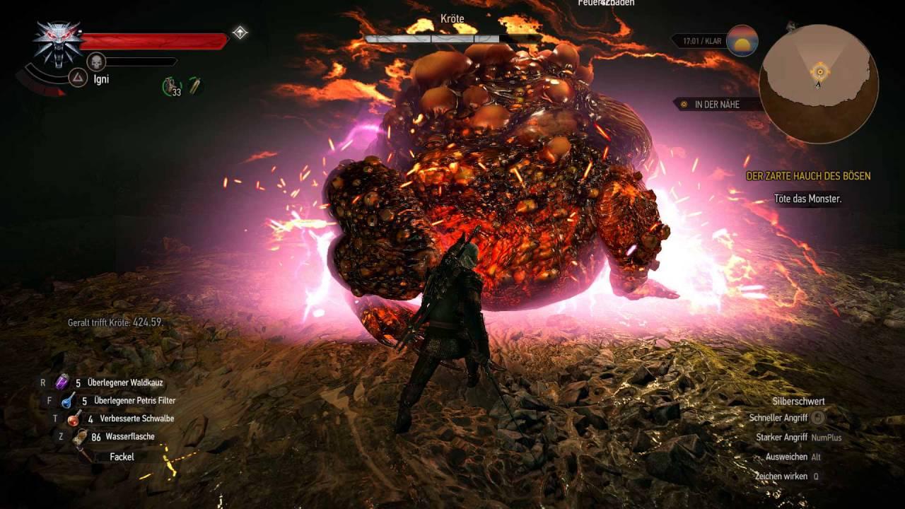 Witcher 3 Tutorial Hearts of Stone Endboss Kröte auf Todesmarsch ...