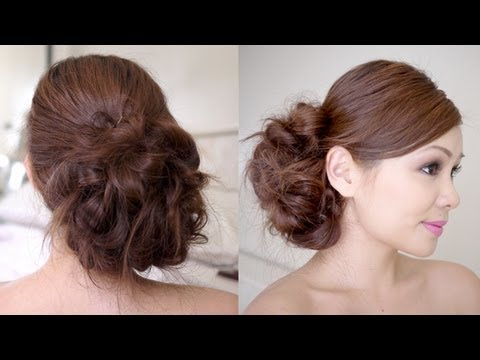 Wedding hairstyles messy side bun braid