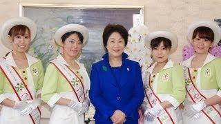 4代目となるつや姫レディが、吉村知事を表敬訪問し、PR活動への意気...