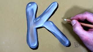 How to Draw a Letter K in Water With Dry Pastel pencils