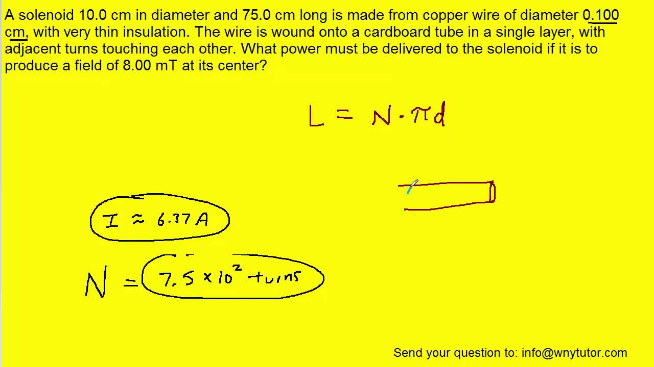 A solenoid 10.0 cm in diameter and 75.0 cm long is made from ...