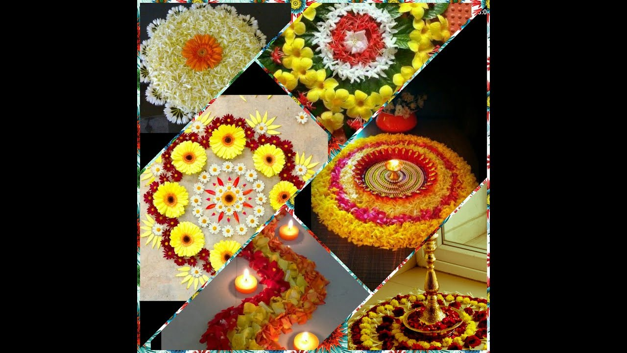 Beautiful & Easy Rangoli Design with Flowers || Flower ...