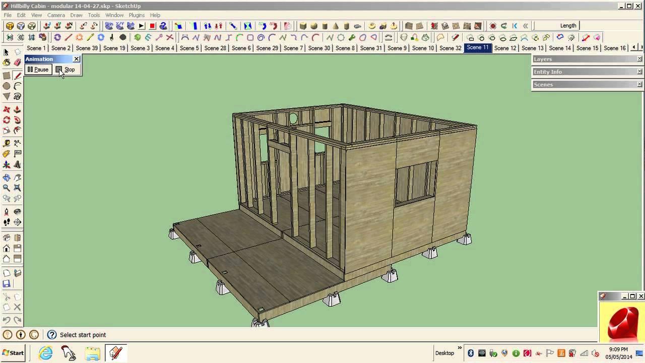 Sketchup - 12\' x 16\' wood frame cabin - YouTube