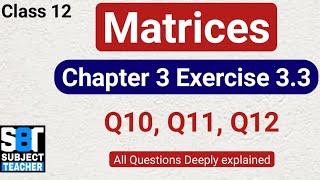 Chapter 3 Matrices Exercise 3.3 (Q10, Q11, Q12) class 12 Maths || NCERT