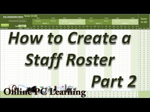 Roster - How to Create a Roster Template Part 2 - Roster tutorial