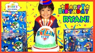 Ryan's 5th birthday party surprise toys opening presents paw patrol egg surprise smash birthday cake