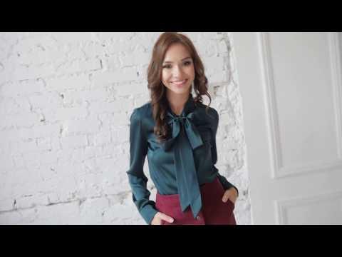 Изумрудная шелковая блузка и идеальная замшевая юбка от Mint
