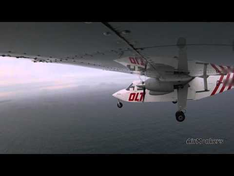 BN-2 Islander - Offshore-flight to Helgoland - wing- and pilot´s view