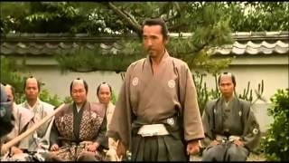 A samurai-ronin ( 浪人 ) displays his martial prowess to a local lord