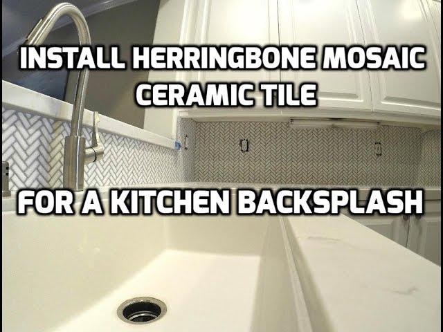 install herringbone mosaic ceramic tile