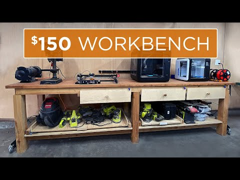How to Build a 10ft Professional Workbench for under $100 | 34