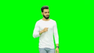 Young man giving various expressions against the green screen