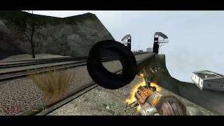 Stopping a train in Half-Life 2 using a tire!!