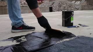 Битумно полимерная мастика НЕОМАСТ нанесение на фундаментную плиту