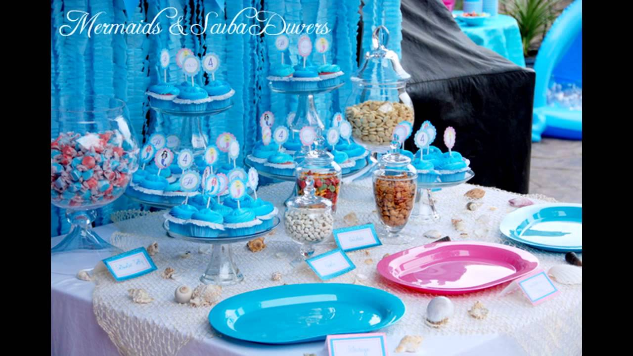 Little mermaid birthday party decorations youtube for Ariel birthday party decoration ideas
