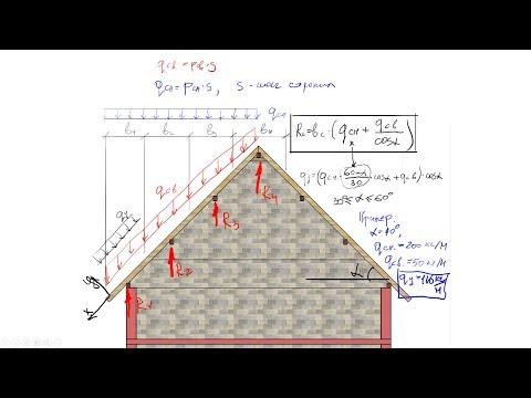 Расчет элементов наслонной крыши