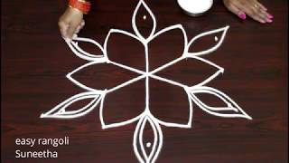 Latest Friday kolam designs with 5 dots   easy n simple muggulu by Suneetha