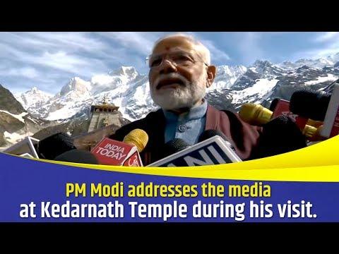 PM Modi addresses the media at Kedarnath Temple during his visit.