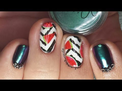 watermelon-nails!-|-gel-polish-with-water-decals-and-chrome!