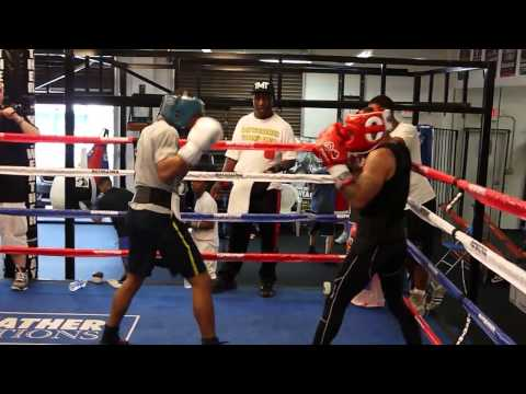 Ashley Theophane sparring Errol Spence at the Mayweather Boxing Club